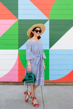 fa5a80d83d0b Donna Morgan Stripe Off The Shoulder Dress on Jenn from Style Charade Bow  Bag