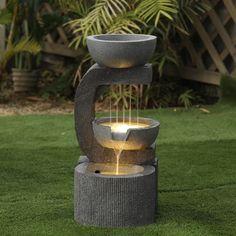 Modern Fountain, Fountain Design, Modern Outdoor Fountains, Home Fountain, Fountain Ideas, Garden Water Fountains, Diy Water Fountain, Garden Ponds, Koi Ponds