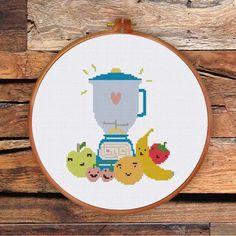 Happy Blender and Fruits cross stitch pattern modern kitchen decor DIY