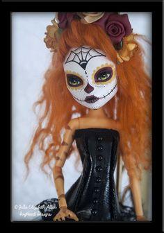 ~Catalina~ OOAK Custom Monster High Day of the Dead Toralei Repaint - IvyHeart Custom Monster High Dolls, Monster Dolls, Monster High Repaint, Custom Dolls, Bratz Doll, Ooak Dolls, Blythe Dolls, Art Dolls, Zombie Dolls