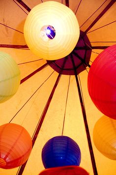 Paper lanterns, simple but stunning tipi styling.