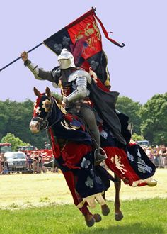 Medieval mounted knight in armour