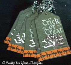 Trick or Treat Set of Six Tags for Halloween | APENNY4URTHOUGHTS - Paper/Books on ArtFire