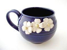 Handmade Whimsical Flower Mug in Cobalt Blue by AbbyTPottery, $32.00