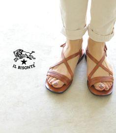 【楽天市場】IL BISONTE イルビゾンテ レザーストラップ フラットサンダル・5432300260(全3色)【2014春夏】:Crouka(クローカ)