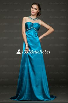 Robe de cérémonie luxe en satin bleu et bustier strass de cristaux