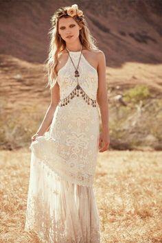 Boho style boho chic, hippie chic style, boho style, gypsy style, hippie we Bohemian Wedding Dresses, Hippie Dresses, Boho Dress, Lace Dress, Dress Wedding, Maxi Dresses, Free People Wedding Dress, Gypsy Wedding, Bride Dresses