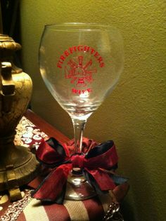 Firefighters Wife Wine Glass.  www.facebook.com/pages/Sassy-Decor-and-More-LLC/365352106761
