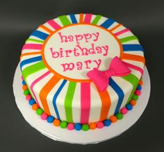 Neon stripe single tier birthday cake! | This would be adorable for my little Mary Madilynn!