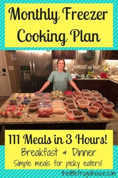 Monthly Freezer Cooking Plan Make 111 Meals in 3 Hours is part of Freezer dinners I& not cooking for 2 months because I just made 111 meals in 3 hours! This monthly freezer cooking plan has a free - Budget Freezer Meals, Slow Cooker Freezer Meals, Make Ahead Freezer Meals, Crock Pot Freezer, Frugal Meals, Cheap Meals, Freezer Recipes, Budget Recipes, Inexpensive Meals