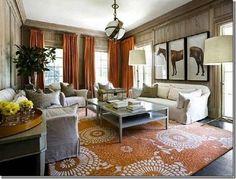 Hermes/Equestrian themed living space/Elle Decor