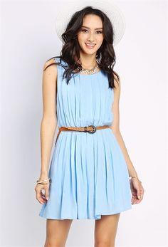 PEDIDOS SOLO POR #ENCARGO Código: PC-74 Pleated Sleeveless Mini Dress W/Belt Color: Blue  Talla: S-M-L Precio: ₡20.500 ($37,82)  Whatsapp ☎8963-3317, escribir al inbox o maya.boutique@hotmail.com  Envíos a todo el país. #MayaBoutiqueCR ❤