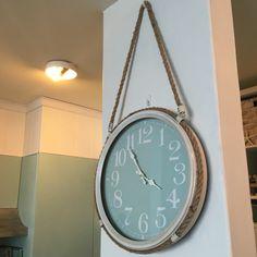 Our beach coastal rope clock. Teal Aqua