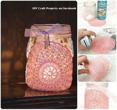 bricolaje Sostenedor de vela del tarro de cristal y blondas