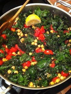 Kale, Chick Peas and Tomato Side Dish - Infinite Health & Wellness Center Fresh Fruits And Vegetables, Fruit And Veg, Veggies, Healthy Recepies, Vegan Recipes, Tomato Side Dishes, Clean Eating, Healthy Eating, Healthy Foods