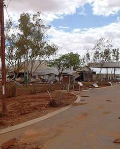 The devastated streets of Gascoyne Junction after the 2010 floods.