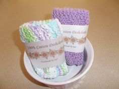 Knit Dish Cloths 1 Solid Lavender and 1 Multi-Color Lavender, Green, Blue and White Hand Knit Dishcloths Knitted Dishcloths by DelsYarnBasket on Etsy