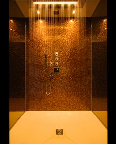 this is a really lovely wet room i love the gold and copper tiles and smoked mirrors