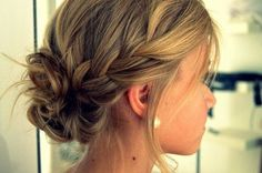 Wedding Hair for thin hair, braids, slightly messy bun