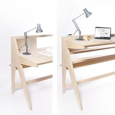 An adjustable, pure CNC standing desk matching the aesthetic of the original Desk.