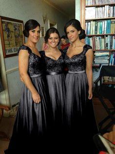 Black Chiffon Corset Long Bridesmaids Dress, Formal Prom Evening Dress