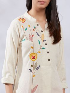 Best 12 Suit for Women : Buy Designer & Printed Suit Sets Online – The Loom Embroidery On Kurtis, Hand Embroidery Dress, Kurti Embroidery Design, Embroidered Clothes, Embroidery Fashion, Applique Dress, Embroidery Stitches, Salwar Designs, Kurti Neck Designs