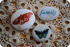 Image transfer onto rocks - rub-ons - beautiful designs!  ************************************************ GardenMama - #rock #stone #decorated #crafts #pebble #rubon #decal #painted #image #decorate  - tå√