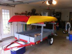Kayak Storage With Roof Homemade Kayak Rack For Utility Trailer - Homemade Ftempo Kayak Rack For Car, Kayak Roof Rack, Kayak Cart, Kayak Storage Rack, Kayak Camping, Canoe And Kayak, Kayak Fishing, Fishing Stuff, Storage Cart