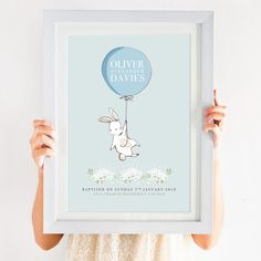 This Personalised Baptism Balloon Print makes a fabulous decorative piece for a traditional nursery, our lovely prints would look wondrous, adorning any wall and will be sure to make a fantas Baptism Gifts, Christening Gifts, Baby Boy Gifts, Gifts For Boys, Frame Crafts, Craft Frames, Frame Layout, Kids Poster, Poster Ideas