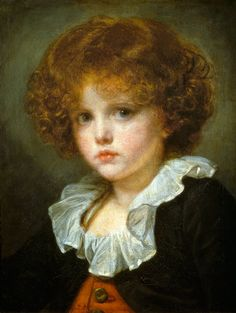 "Jean-Baptiste Greuze (French Rococo Era Painter, 1725-1805)  ""Boy in a Red Waistcoat"""