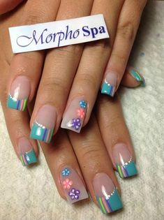 The problem is so many nail art and manicure designs that you'll find online Fingernail Designs, Acrylic Nail Designs, Nail Art Designs, Acrylic Nails, Nails Design, Easter Nails, Flower Nail Art, Manicure E Pedicure, French Nails