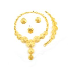 Custom Made Middle Eastern 18K general gold plated 4 Pieces Jewelry Sets