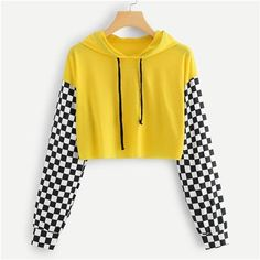 Yellow Gingham Panel Hoodie Shirt Women Long Sleeve Crop Top Tees Autumn Womens Clothing Casual Drawstring T Shirt embarazadas fashion fotos ideas moda diet first yoga fashion fotos outfits tips women Girls Fashion Clothes, Teen Fashion Outfits, Mode Outfits, Girl Outfits, Clothes For Women, Cool Clothes, Womens Fashion, Crop Top Outfits, Cute Casual Outfits