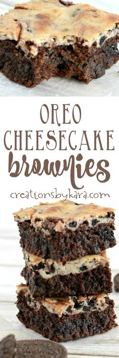These Oreo Cheesecake Brownies are sure to become a favorite. They are chewy, chocolatey, and perfectly decadent!