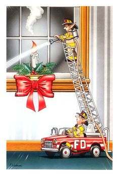 Fireman / Firefighter Christmas Cards - X-770 - One (1) Pack of 10 Cards & Envs. #Christmas