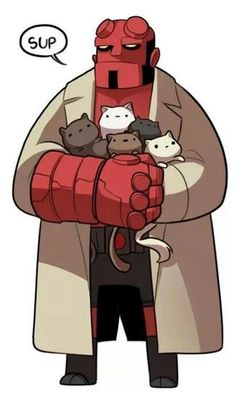 Hellboy + kitties! <3 <3 <3 | #hellboy #kitties #darkhorse #comics