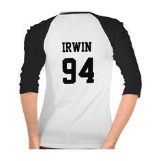 Zazzle Ashton Irwin Baseball Tee ($26) ❤ liked on Polyvore featuring tops, t-shirts, baseball top, baseball tee, white t shirts, white tops and white baseball tee