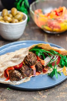 Moroccan Meatballs served in Pita Pockets with Fresh Vegetables and Carrot Salad. A side of Olives Moroccan Vegetables, Moroccan Spices, Fresh Vegetables, Moroccan Meatballs, Greek Meatballs, Cocktail Meatballs, Lamb Recipes, Cooking Recipes, Meatball Recipes