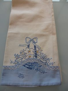Vintage Blue Embroidered Tea Towel by MemphisNanney on Etsy, $6.25
