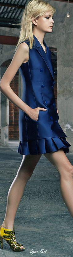 Antonio Berardi ~ Resort Tunic w Pleated Skirt, Navy, 2015