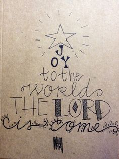 Kraft paper joy to the world Christmas tree Christian religious happy merry pen and ink card