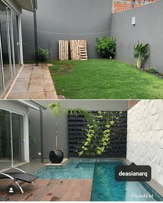 house exterior before and after \ house exterior ` house exterior colors schemes ` house exterior design ` house exterior colors ` house exterior ideas ` house exterior farmhouse ` house exterior before and after ` house exterior uk Small Backyard Pools, Backyard Pool Designs, Small Pools, Swimming Pools Backyard, Swimming Pool Designs, Patio Design, Pool Garden, Lap Pools, Indoor Pools