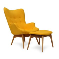 International Design USA Blue Huggy Mid Century Chair and Ottoman | AllModern