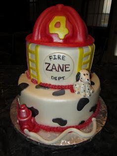 Fireman Birthday Cake (with sculpted fire hydrant and Dalmation) | Shared by LION