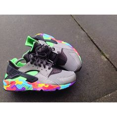 Custom Customized Huarache Nike Air Dope Trainers Sneakers Footwear Grey Black Puzzle Jigsaw