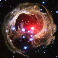 Star V838 Monocerotis's (V838 Mon) light echo, which is about six light years in diameter, is seen from the Hubble Space Telescope in this February 2004 handout photo released by NASA on December 4, 2011.