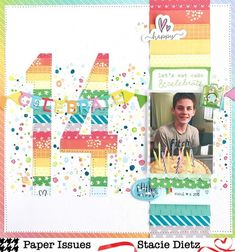 Paper Issues Birthday Page Layout Birthday Scrapbook Layouts, Scrapbook Sketches, Scrapbook Page Layouts, Simple Scrapbooking Layouts, Scrapbook Designs, Paper Bag Scrapbook, Scrapbook Supplies, Scrapbook Cards, Simple Scrapbook Ideas