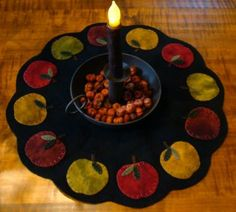 Leaves Candle Mat Wool Applique Pattern W Wool Felt Kit