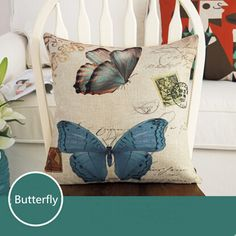 Find More Pillow Case Information about Butterfly Fashion Linen Cushion Cover Home Decorative  Pillowcase Bedroom Pillowcover 45*45cm,High Quality sofa cushion foam,China sofa cushion Suppliers, Cheap sofa cloth from Winne on Aliexpress.com