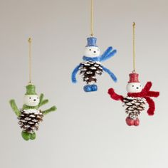 I could make that... Pinecone Snowman Ornament